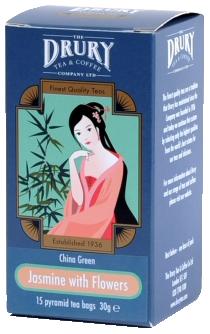 Drury pyramid China Green Jasmine with Flowers tea bag