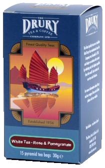 Drury Pyramid White Tea with Rose & Pomegranate Tea Bag