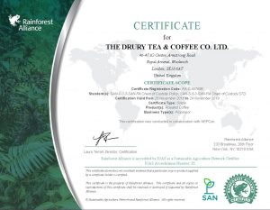 Rainforest Alliance Certificate 2016 - 2019