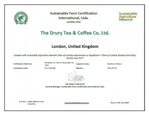 Rainforest Alliance Certificate 2013 - 2016